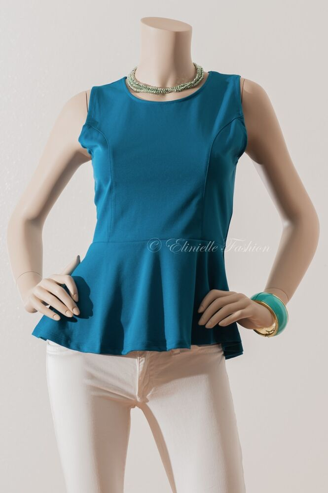 New Women's Sexy Sleeveless Ponti Peplum Tops Blouse ...