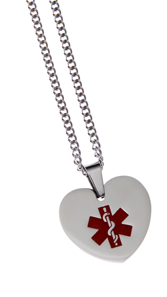 stainless steel pendant id necklace alert