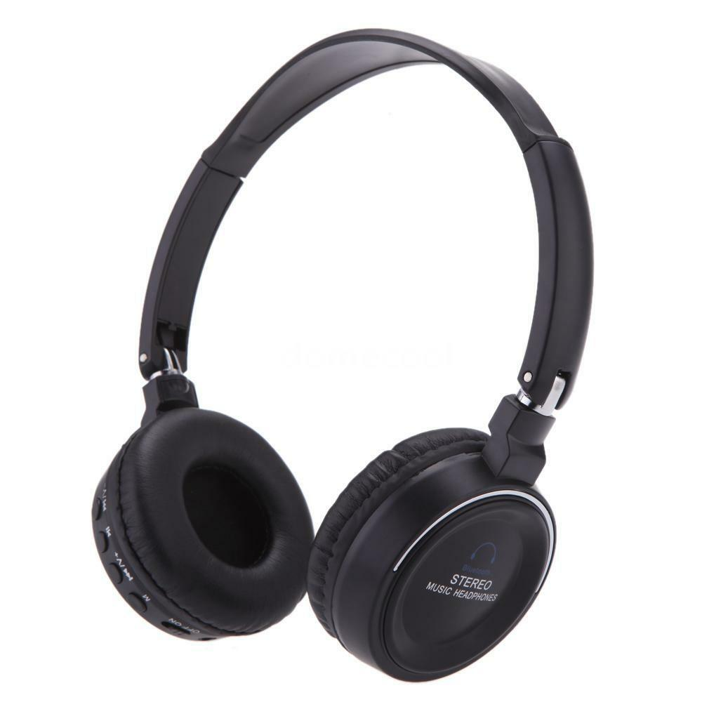 Wireless Stereo Headphones Bluetooth Headsets With Mic FM For SmartPhones Black
