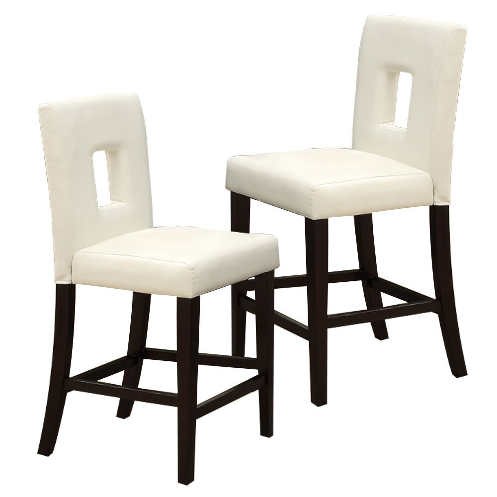 "Set of 2 Dining 24""H High Side Chairs Cream Faux Leather ..."