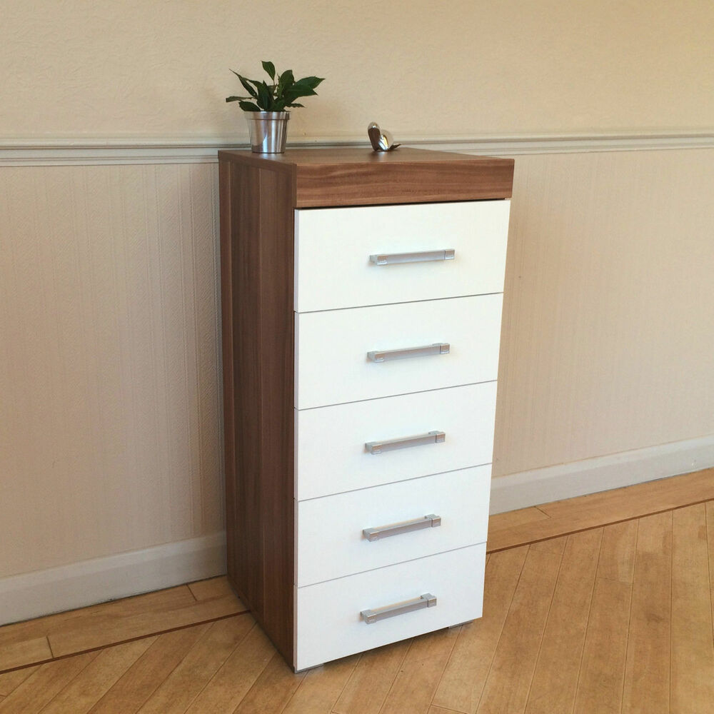 White Walnut Tall Boy Chest Of 5 Drawers Bedroom Furniture Narrow Slim Draw Ebay