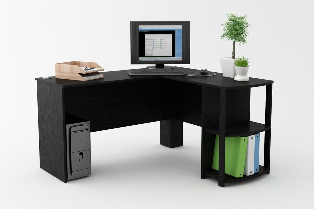 L shaped corner desk workstation computer home office for Home office workstation desk