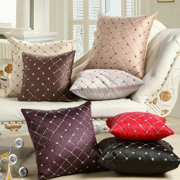 Home Sofa Bed Decor Multicolored Plaids Throw Pillow Case Square Cushion Cover eBay