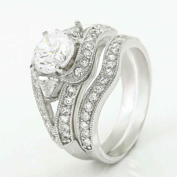 Womens Ladies Round Cut 925 Sterling Silver Engagement