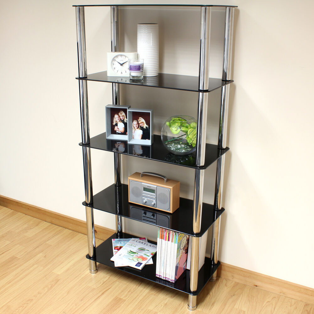 storage units for small bedrooms hartleys 70cm black glass 5 tier shelf unit home office 19923