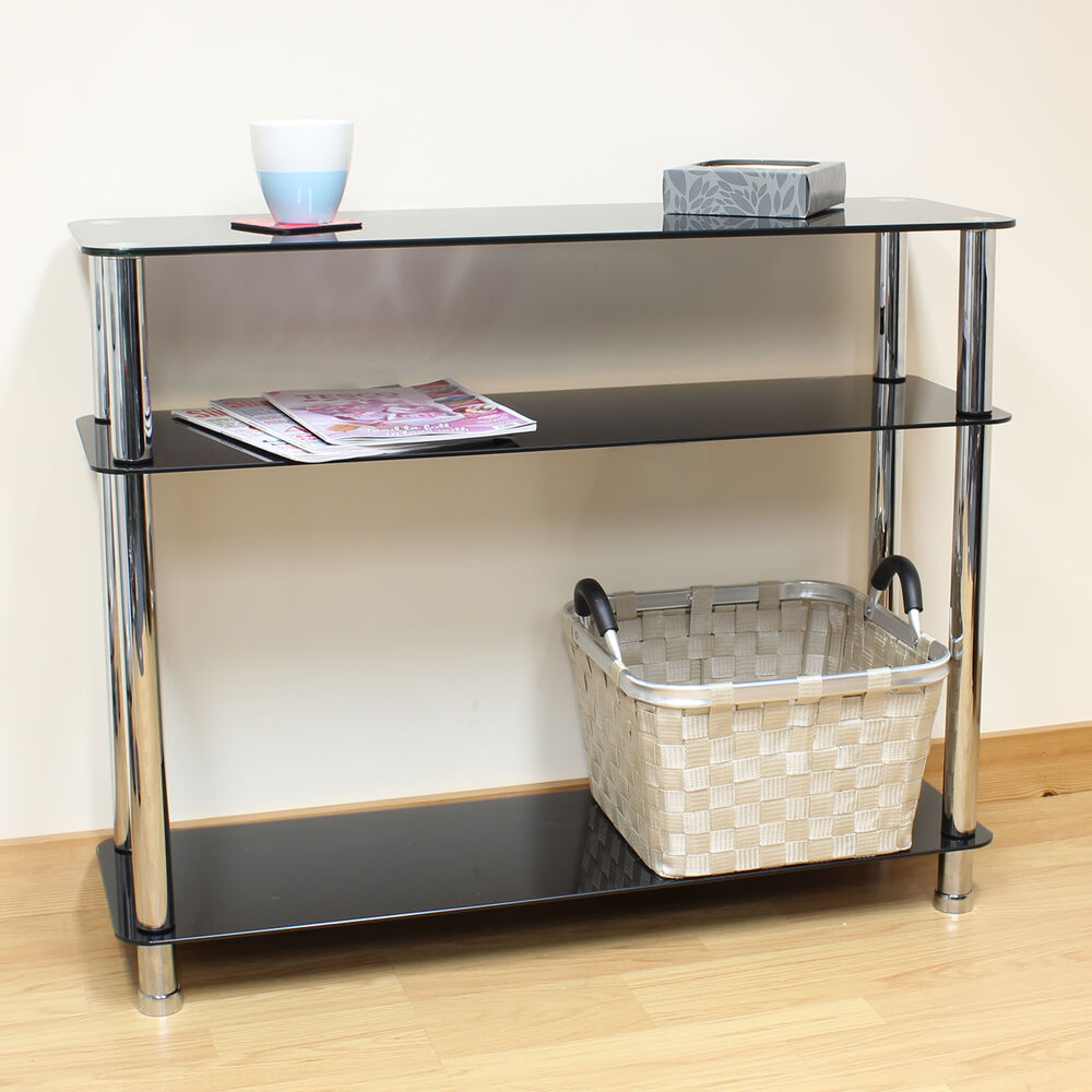 Hartleys 3 Tier Black Glass Side Console Table Shelf Unit