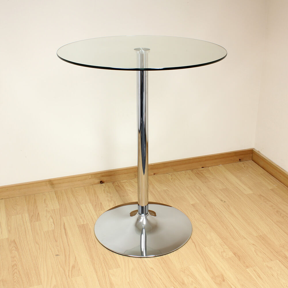 Hartleys 80cm clear chrome tall round glass bistro cafe for Tall breakfast table