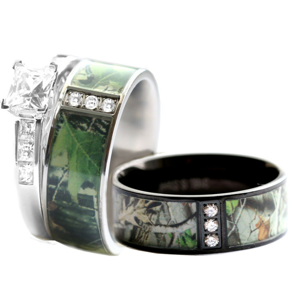 His hers stainless steel camo 925 silver engagement for Camoflauge wedding rings