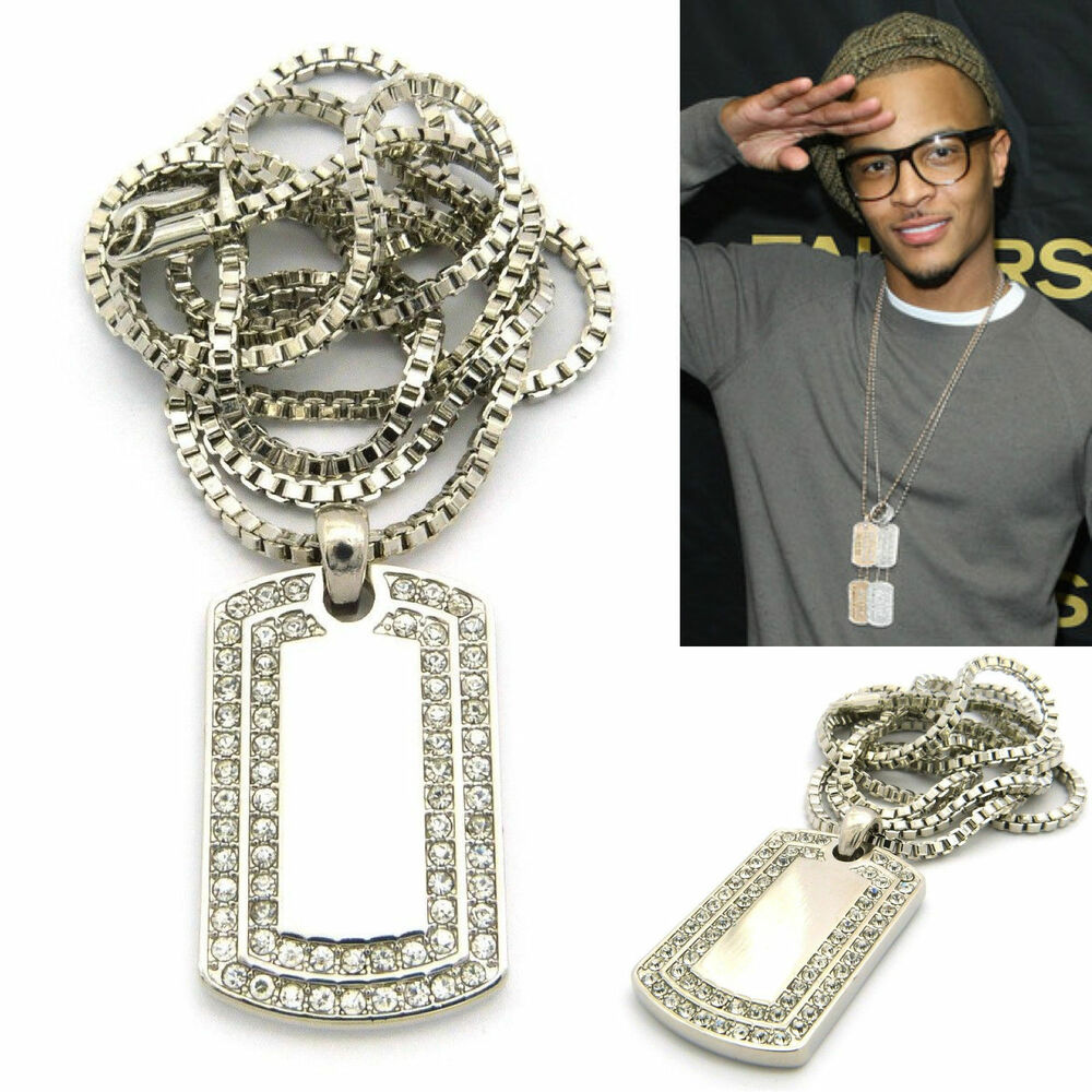 Mens New Iced Out Hip Hop Silver Dog Tag Pendant 2mm 24