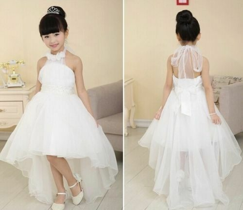 Girls white flowerbridesmaidpartypromweddingchristening dress girls white flowerbridesmaidpartypromweddingchristening dress kids dresses ebay junglespirit Images