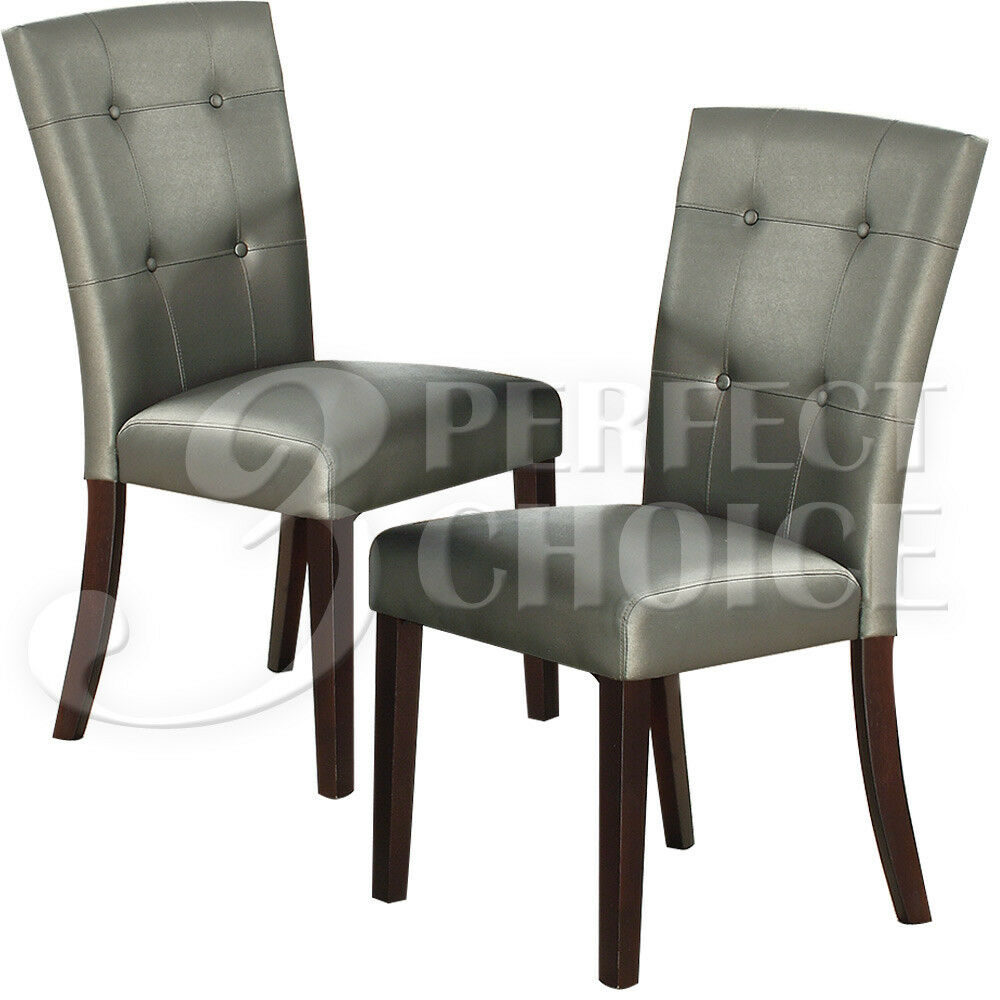 Set Of 2 Parson Style Dining Side Chairs Chair Tufted Back