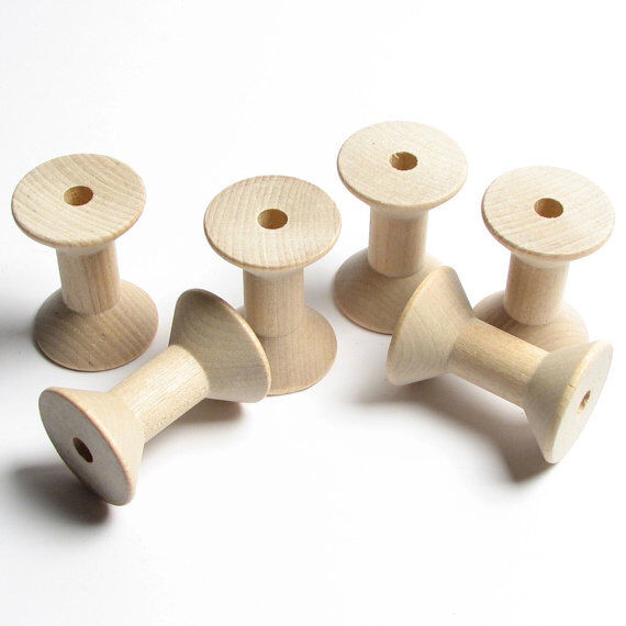 lot of 6 large wood hardwood thread spool craft bird toy