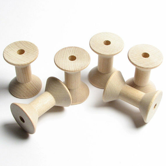 Lot of 6 large wood hardwood thread spool craft bird toy for Unfinished wood pieces for crafts