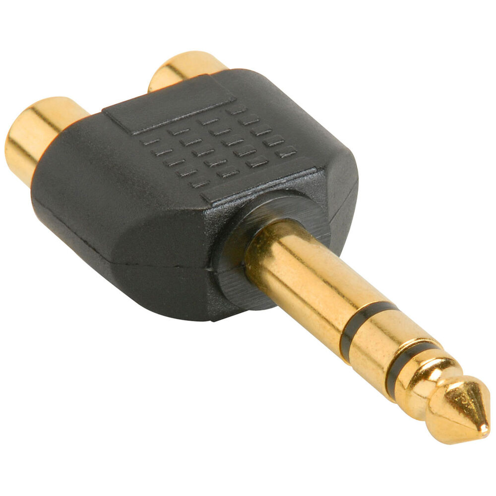 1 4 stereo male to 2 rca female y adapter plug ebay. Black Bedroom Furniture Sets. Home Design Ideas
