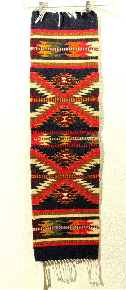 Mexican Wool Rug Runner Hand Woven Natural Dyes Master