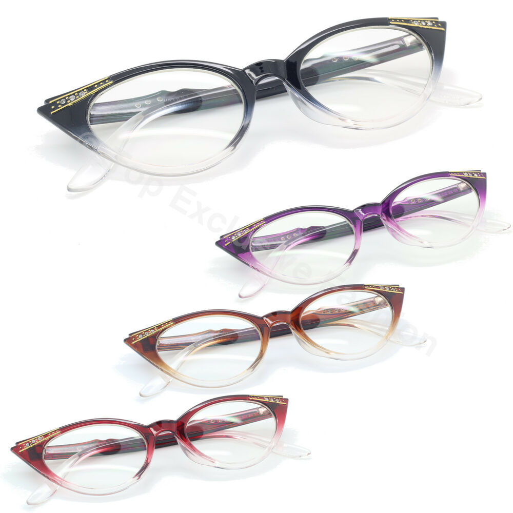 Clear Lens Cat Eye Glasses Women Vintage Retro Crystal ...