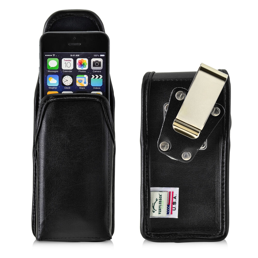 Turtleback iphone se 5 5s durable vertical leather pouch holster metal clip case ebay - Iphone 5s leather case ...