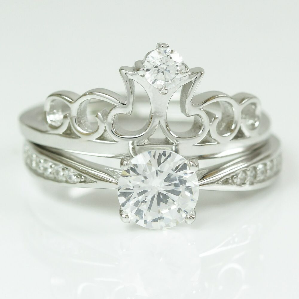 silver solitaire crown engagement wedding ring band set ebay