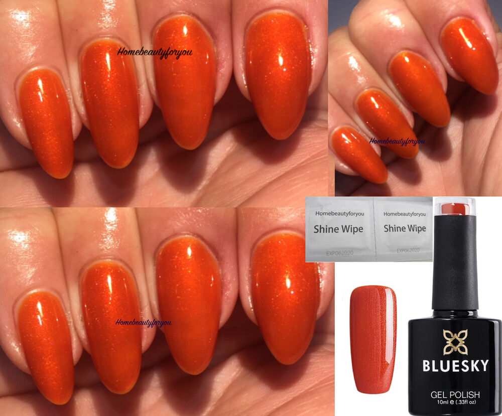 BLUESKY 80583 FINE VERMILLION BURNT ORANGE SHIMMER NAIL GEL POLISH ...