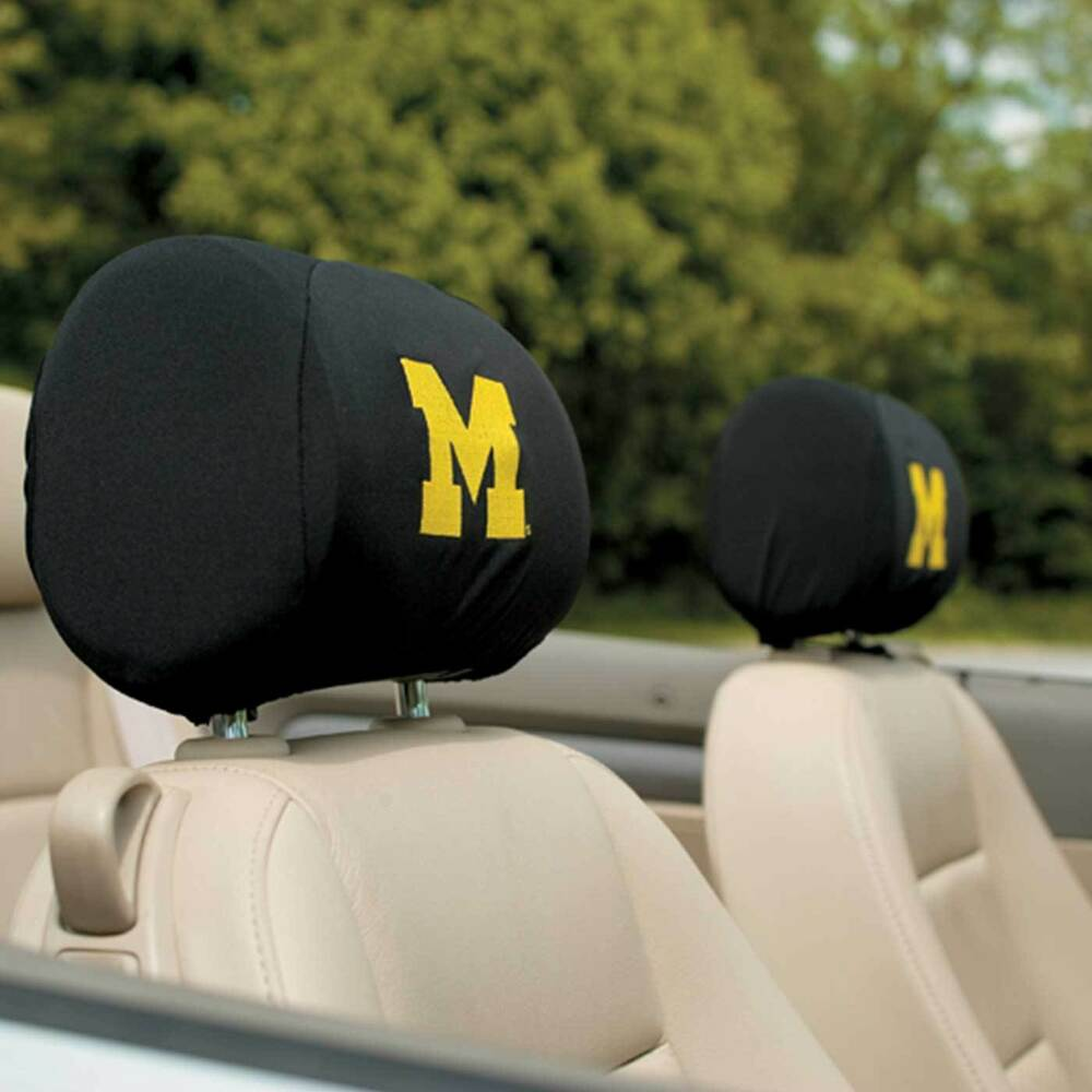 Michigan Wolverines Headrest Covers Black Car Truck Sold