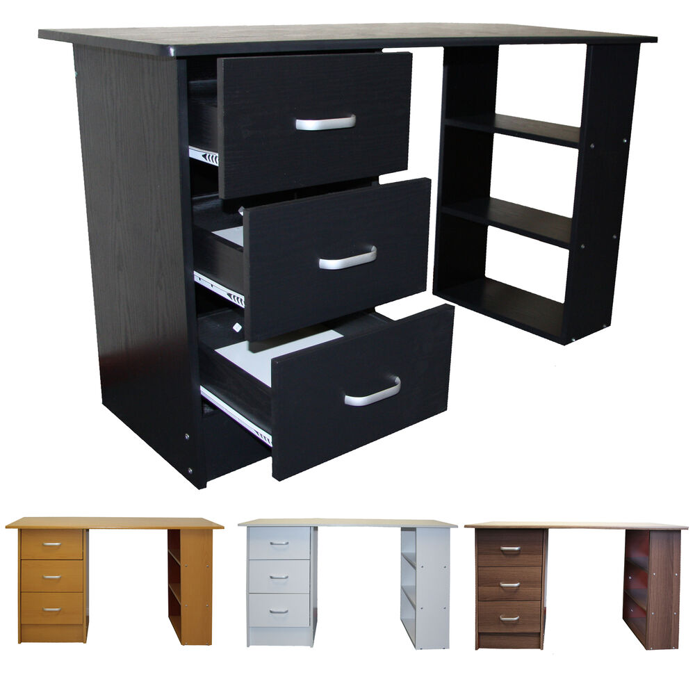 computertisch schreibtisch schwartz wei buche nussbaum schubladen redstone ebay. Black Bedroom Furniture Sets. Home Design Ideas