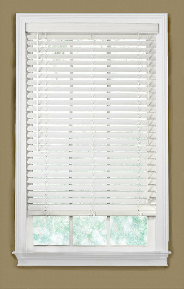 2 Quot Faux Wood Blind In Alabaster Window Covering 45 3 4in