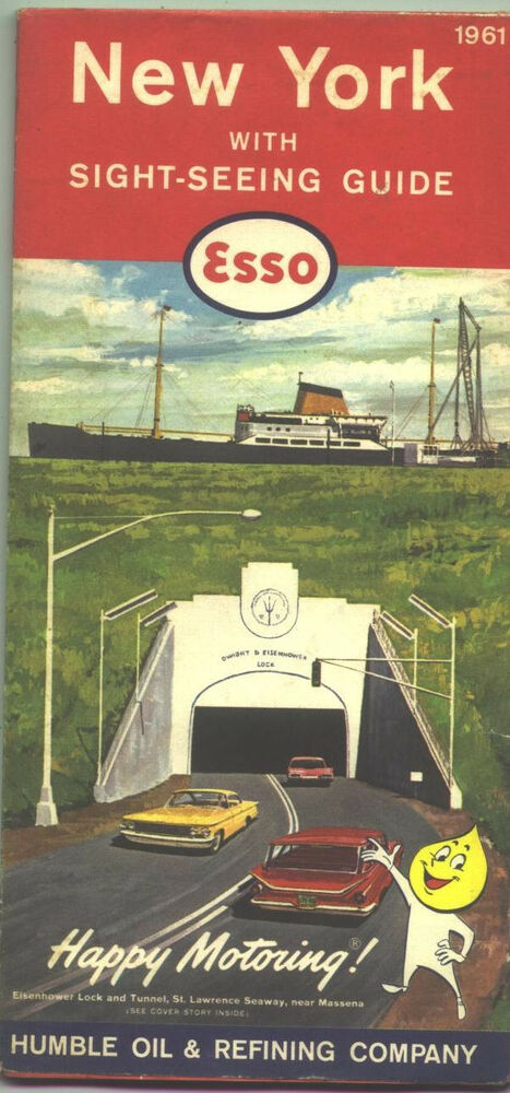 1961 Esso New York Vintage Road Map Eisenhower Lock