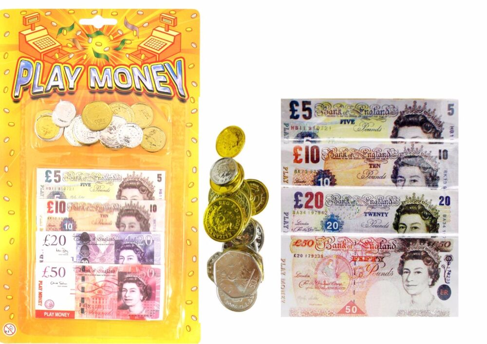 Pretend Toy Money : Childrens kids play fake pretend money role shops cash