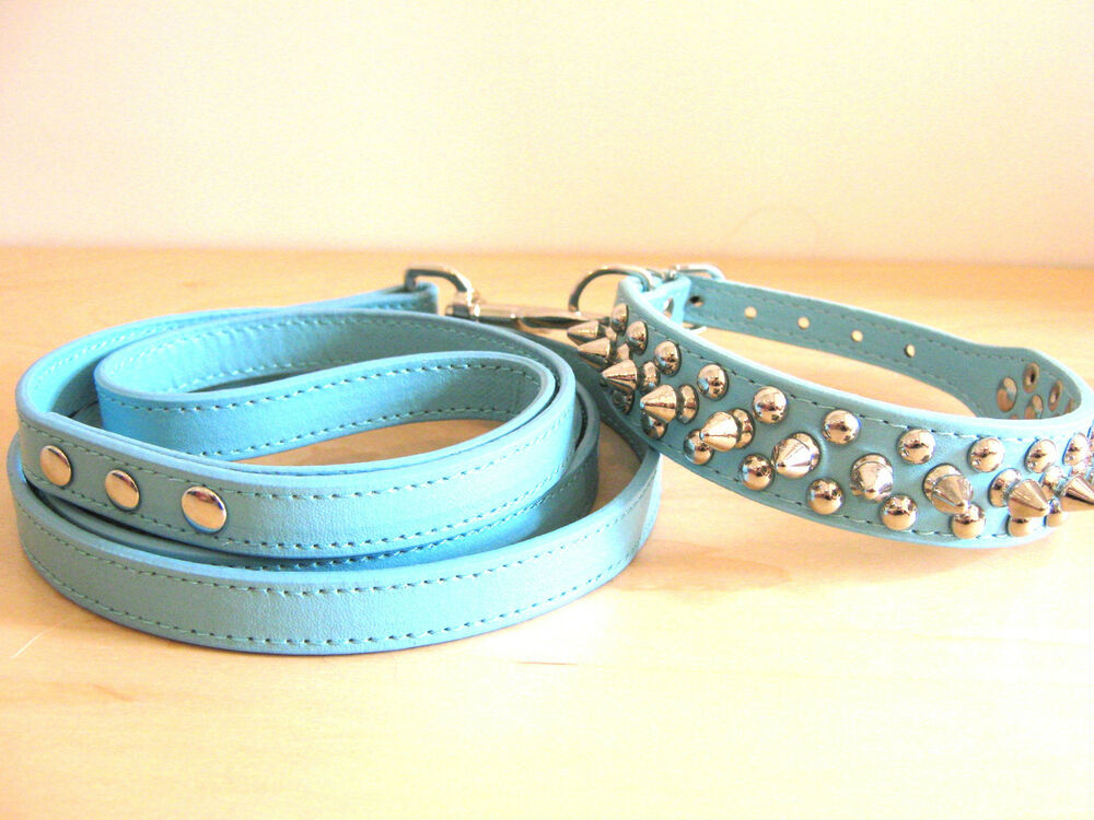 Pu Leather Spiked Dog Collar And Leash Set 4 Medium Small