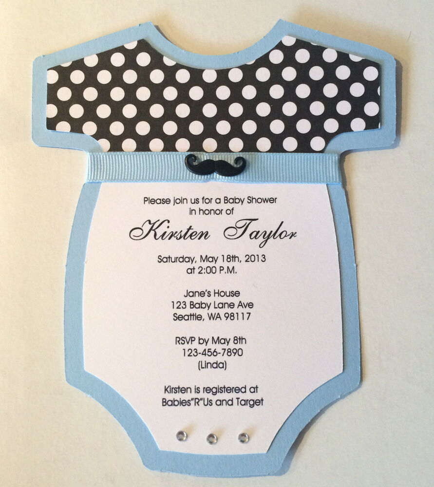 baby boy shower onesie invitations mustache tie bow custom