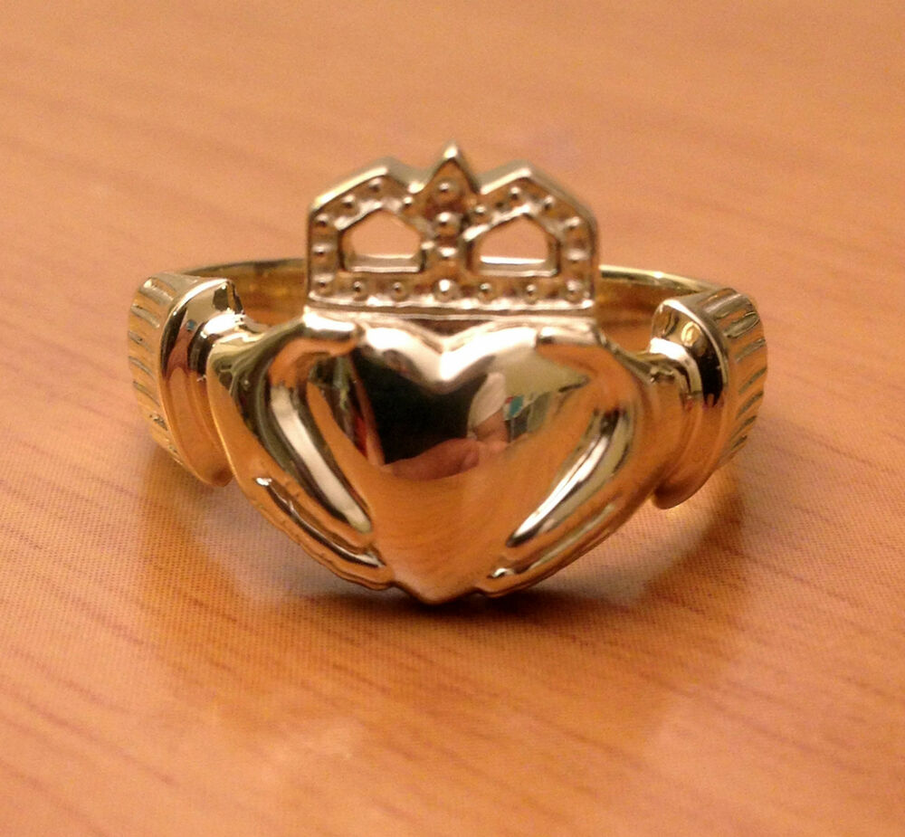 mens heavy claddagh wedding ring band 10k yellow solid. Black Bedroom Furniture Sets. Home Design Ideas