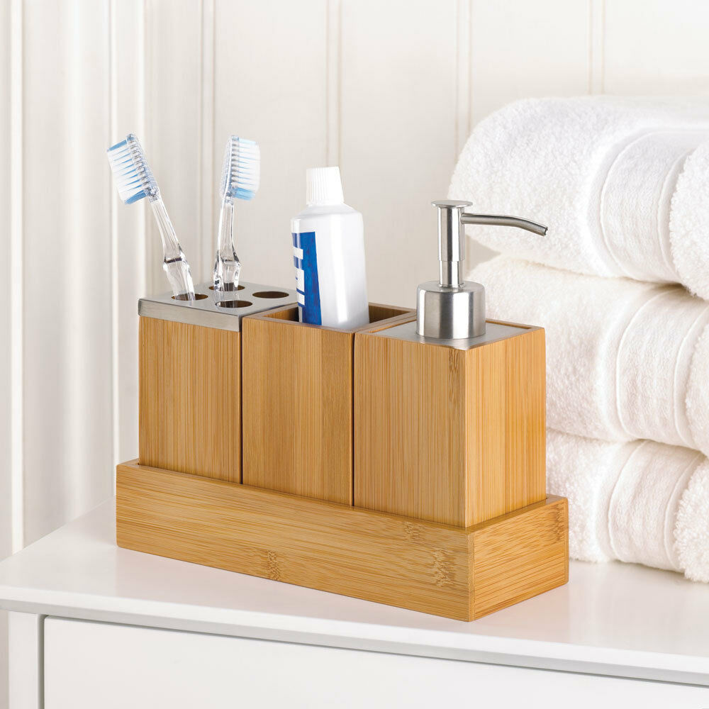 Bamboo Bathroom Accessory Set In Tray Soap Dispenser Cup