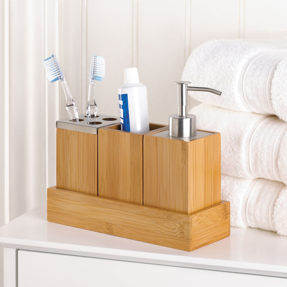 Shower Bathroom Sets: Bamboo Bathroom Accessory Set In Tray Soap Dispenser Cup