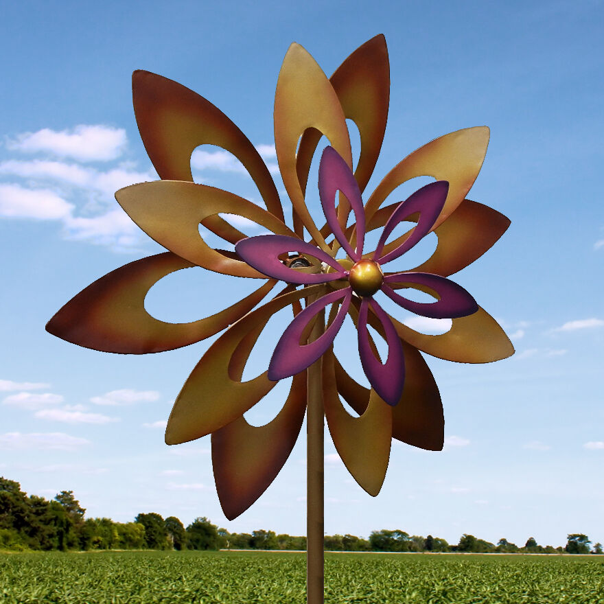 Dancing sunflower windmill spinner wind stake garden yard for Decoration jardin metal