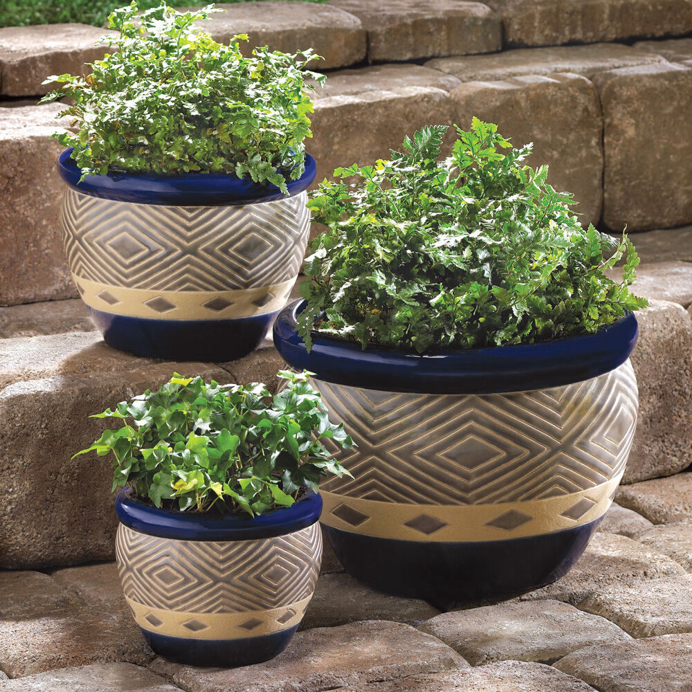 Cobalt Planters 3pc Ceramic Garden Plant Flower Pot Set Ebay
