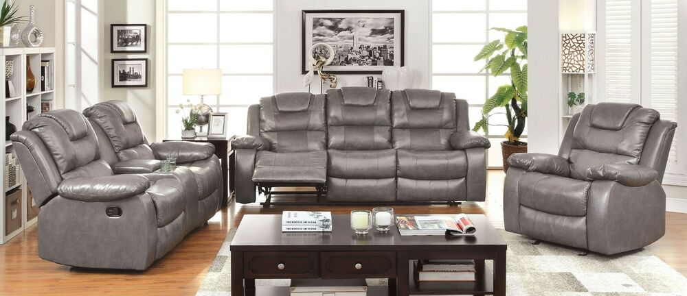 vienne 3pieces reclining sofa set upholstered in gray bonded leather ebay. Black Bedroom Furniture Sets. Home Design Ideas