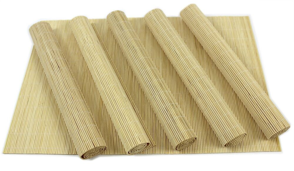 Set of 6 placemats table mats bamboo oriental extra large for Table placemats