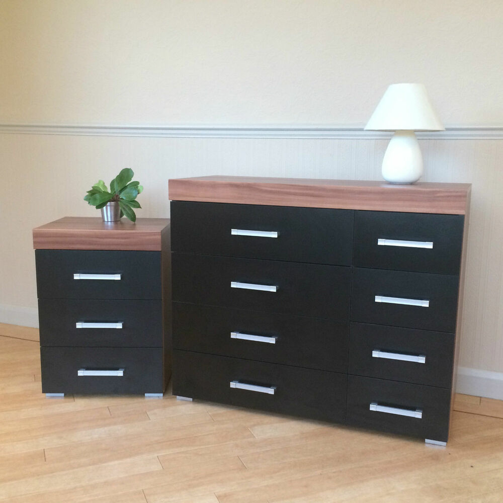 Cabinet Bedroom Furniture: Black & Walnut 4+4 Drawer Chest & 3 Draw Bedside Cabinet