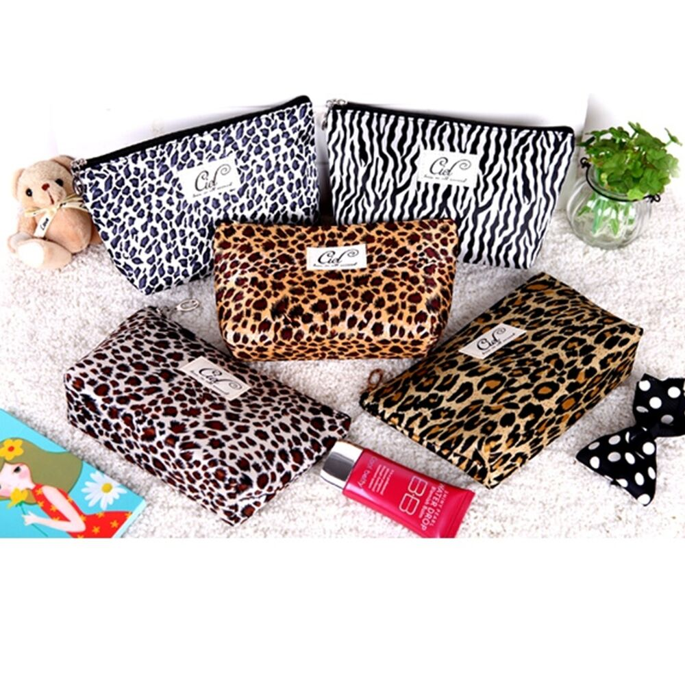 leopard print handy bag cosmetic make up bag fabric zebra big pouch travel ebay. Black Bedroom Furniture Sets. Home Design Ideas