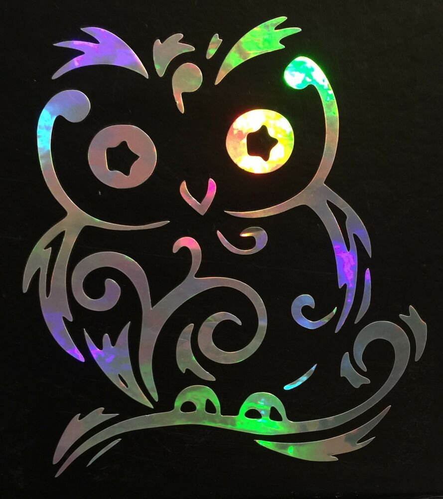 Fancy Swirl Owl Cute Rainbow Holographic Vinyl Car Decal