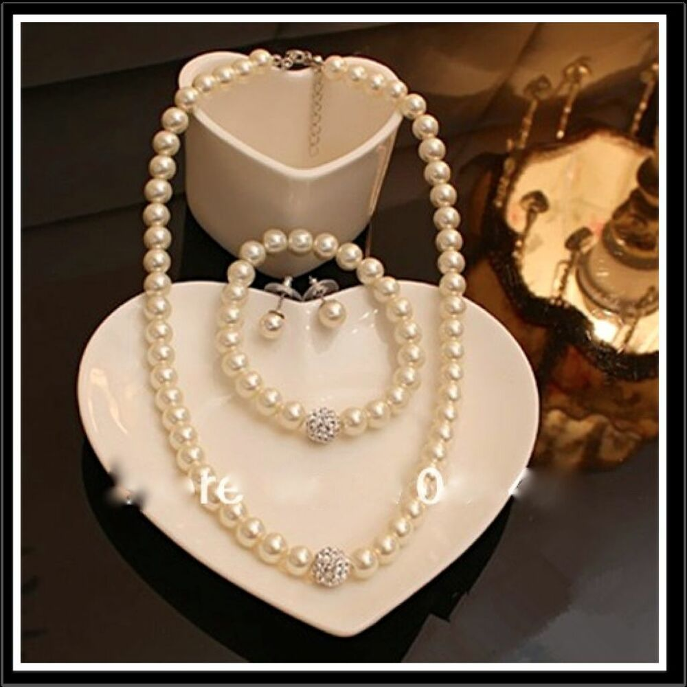 Cream Pearl With Rhinestone Ball Chain Necklace Bracelet