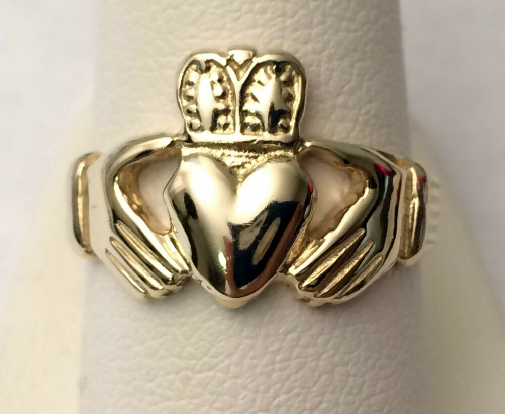 Mens Claddagh Wedding Ring Band 14k Yellow Solid Gold
