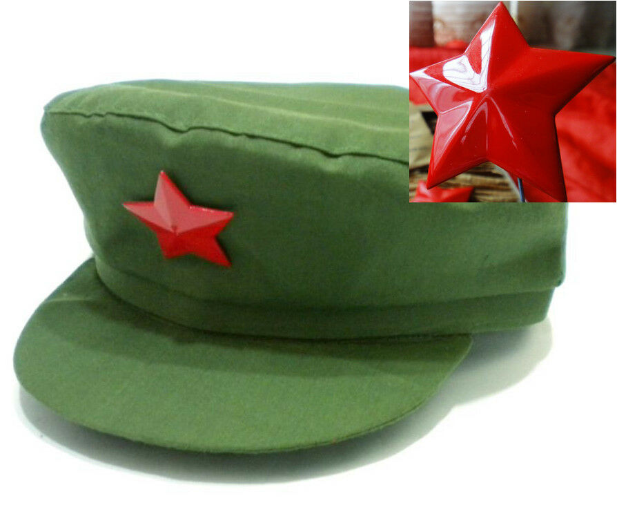 Details About Hat Chairman Mao Old Army Style Cap 1960s Original Pla Red Star Badge