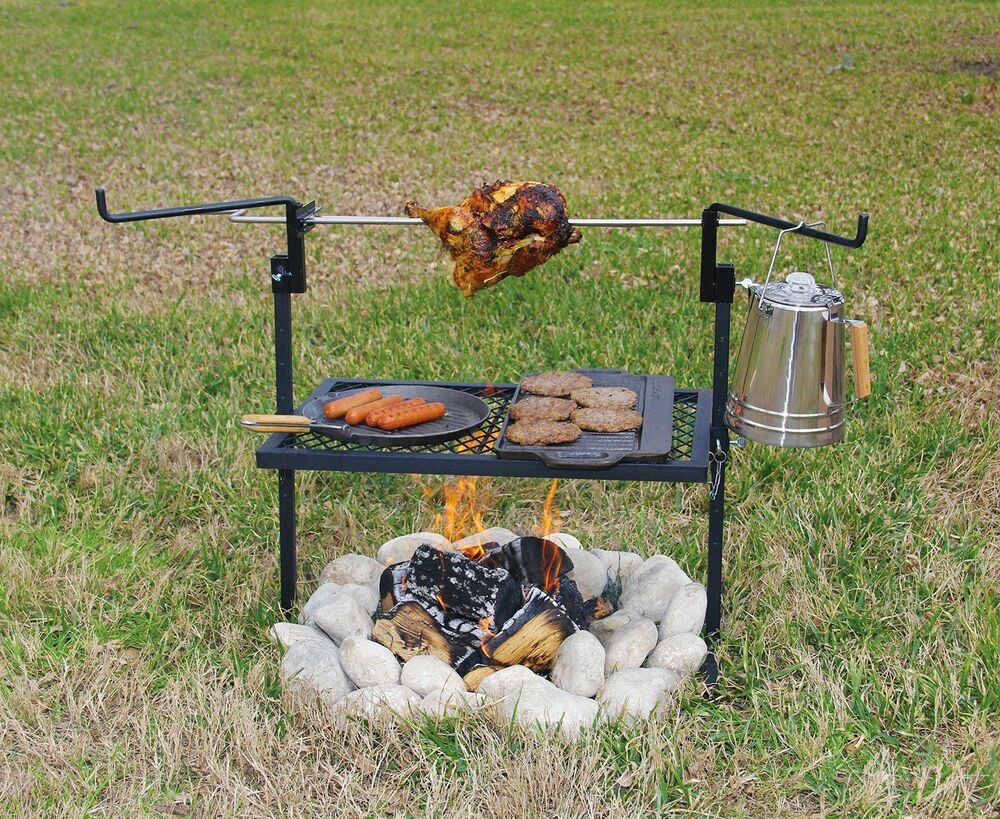 Rotisserie spit grill stainless steel camping cooking
