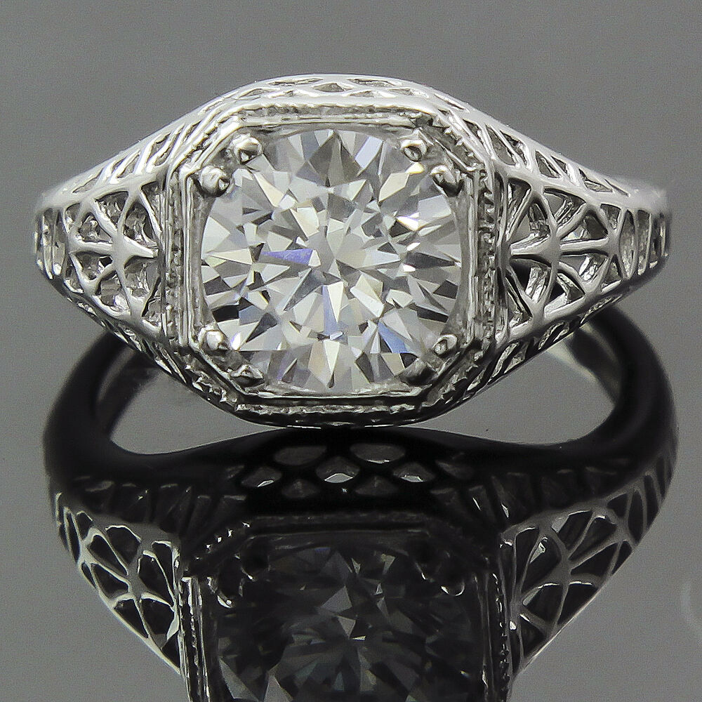 Antique Deco Sterling Silver Diamond Replica Engagement