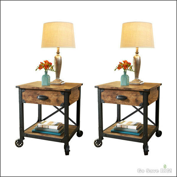 Rustic Country Side Tables Drawer Shelf Night Storage End Nightstands ...