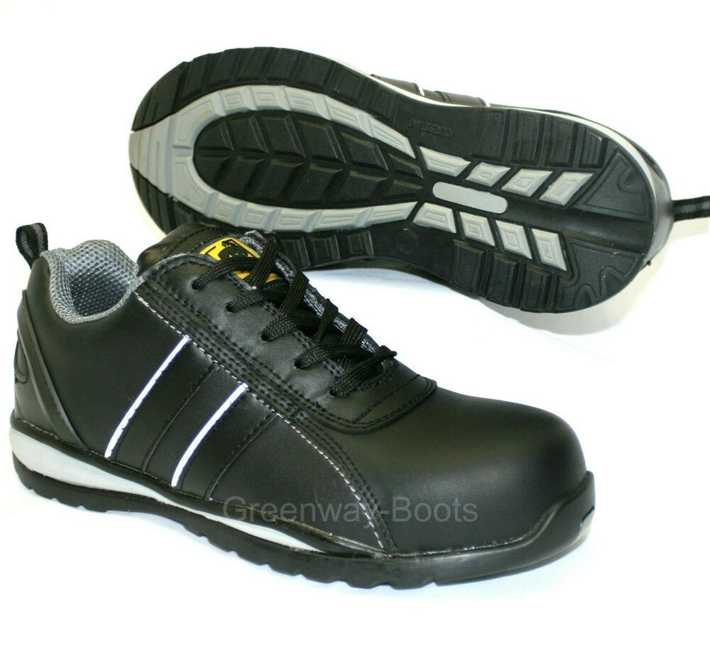 black leather work safety composite toe cap