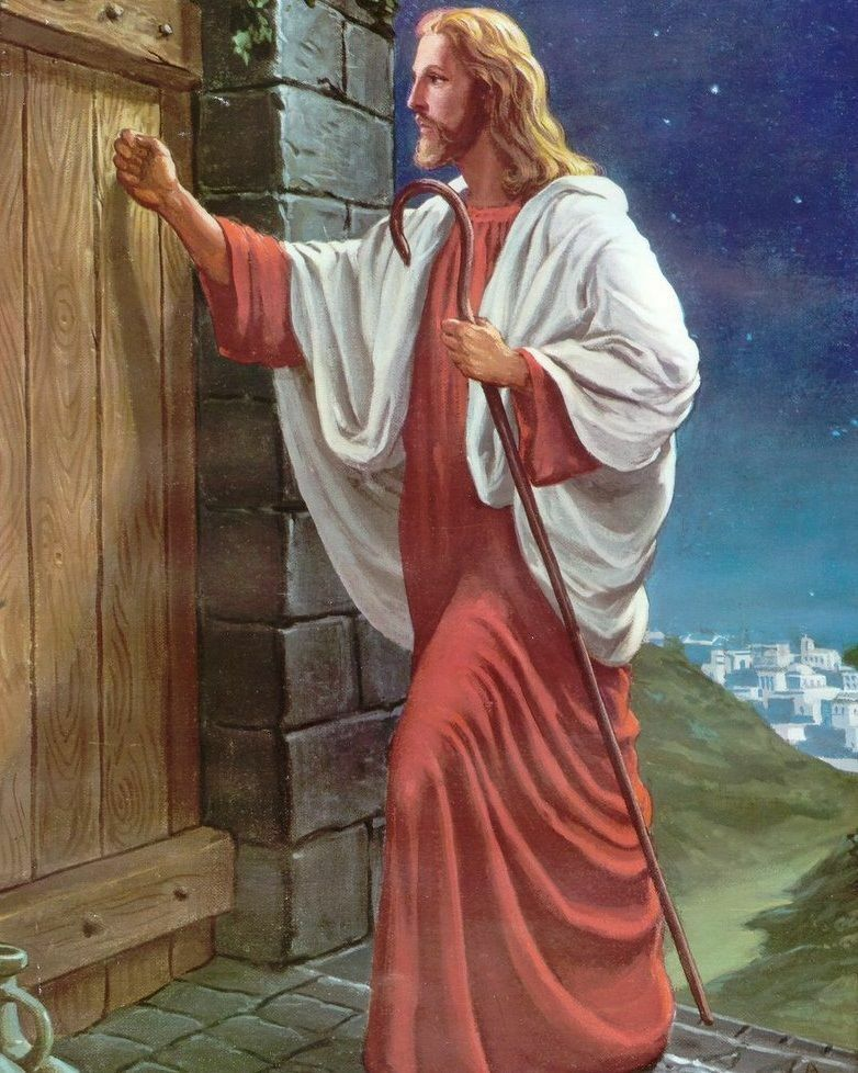 The Lord Jesus Christ Knocking Door Christian Art Print