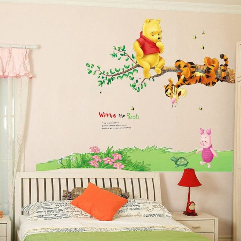 winnie the pooh animals wall decor vinyl decal kids nursery stickers removable ebay. Black Bedroom Furniture Sets. Home Design Ideas