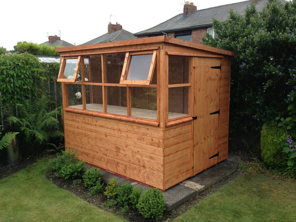 Potting shed sun pent greenhouse great garden addition for Small outdoor sheds for sale